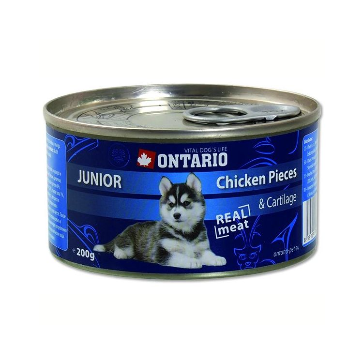 Ontario konzerva pro psy Junior Chicken Pieces + Cartilage 200 g