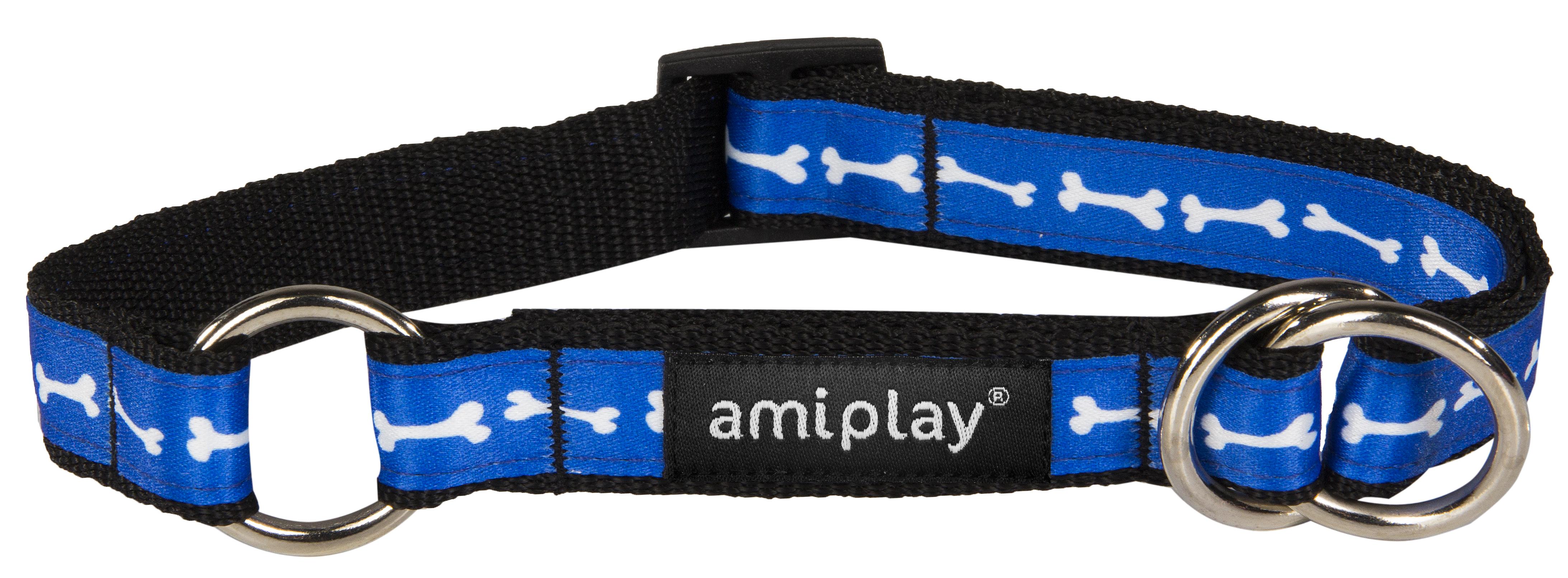 Obojek pro psa polostahovací nylonový - modrý se vzorem kost - 2 x 26 - 48 cm