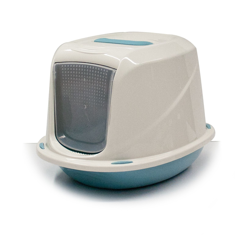 Krytá toaleta s filtrem a rukojetí Argi - modrá - 45 x 36 x 31,5 cm