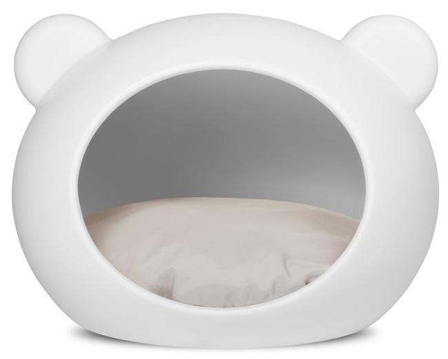 Guisapet plastový pelíšek pro psy bílý, polštář šedý - 70 x 50 x 58 cm