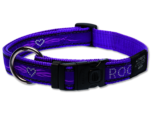 Obojek pro psa nylonový - Rogz Fancy Dress Purple Chrome - 2,5 x 43 - 70 cm