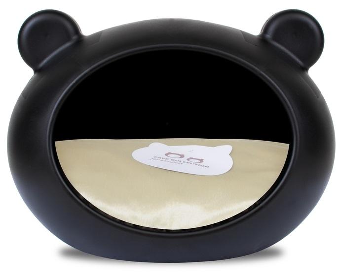 Guisapet plastový pelíšek pro psy černý, polštář béžový