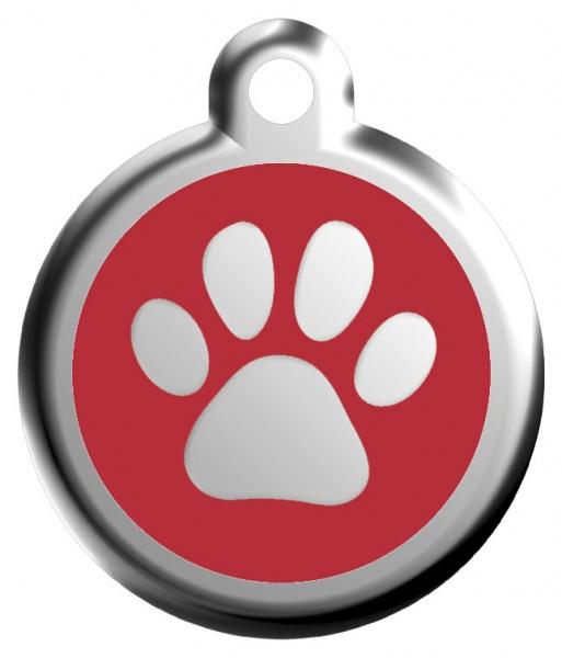 Red Dingo Známka červená tlapka - S, 20 mm