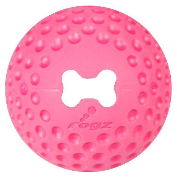 Rogz Gumz gumový míček pro psy plnicí růžový - velikost L, průměr 7,8 cm