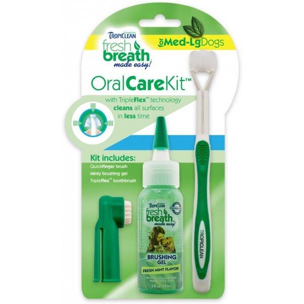 Tropiclean Oral Kit Gel na zuby s kartáčky pro psy 59 ml M/L