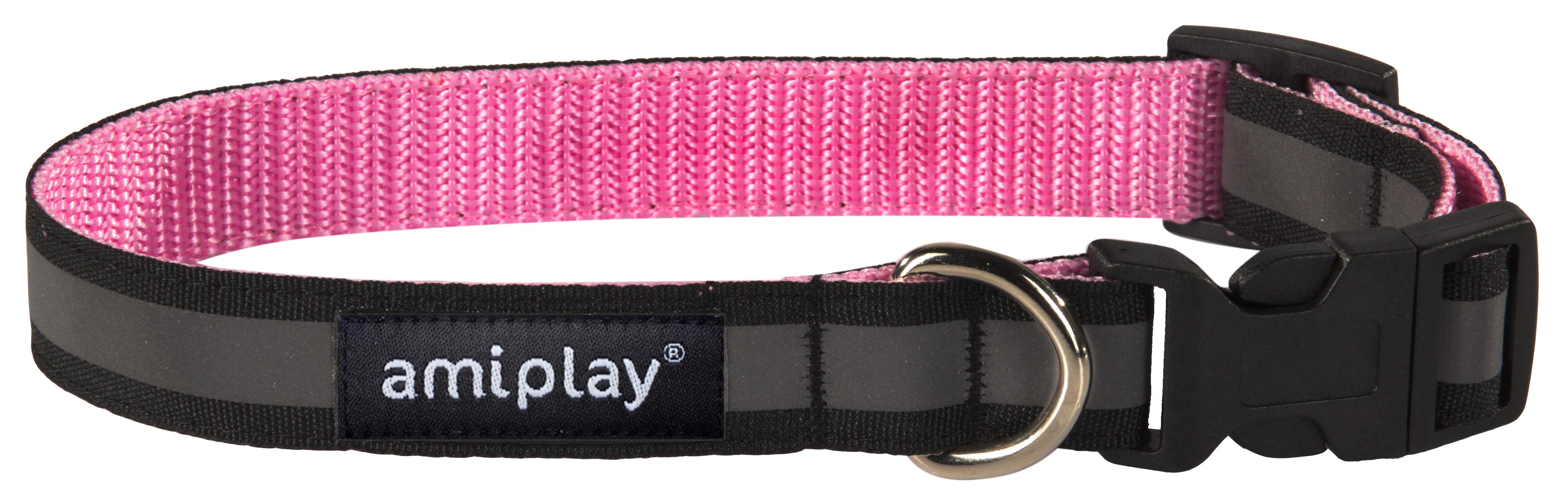 Obojek pro psa nylonový reflexní - růžový - 2,5 x 34 - 55 cm