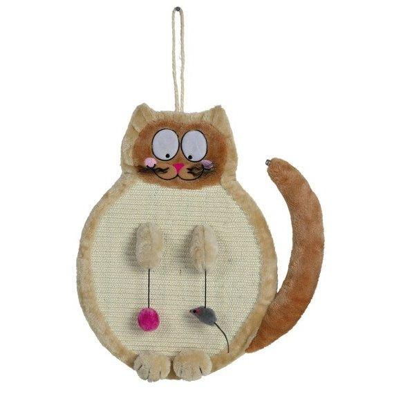 Škrábadlo závěsné tvar KOČKA s hračkami, béžové 36x50 cm